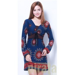 Printed Long Sleeves Dress 306