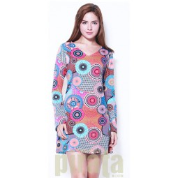 Printed Long Sleeves Dress 316