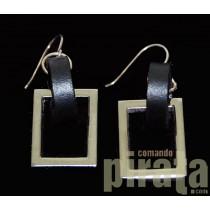 Metal/Leather Earrings 03-3